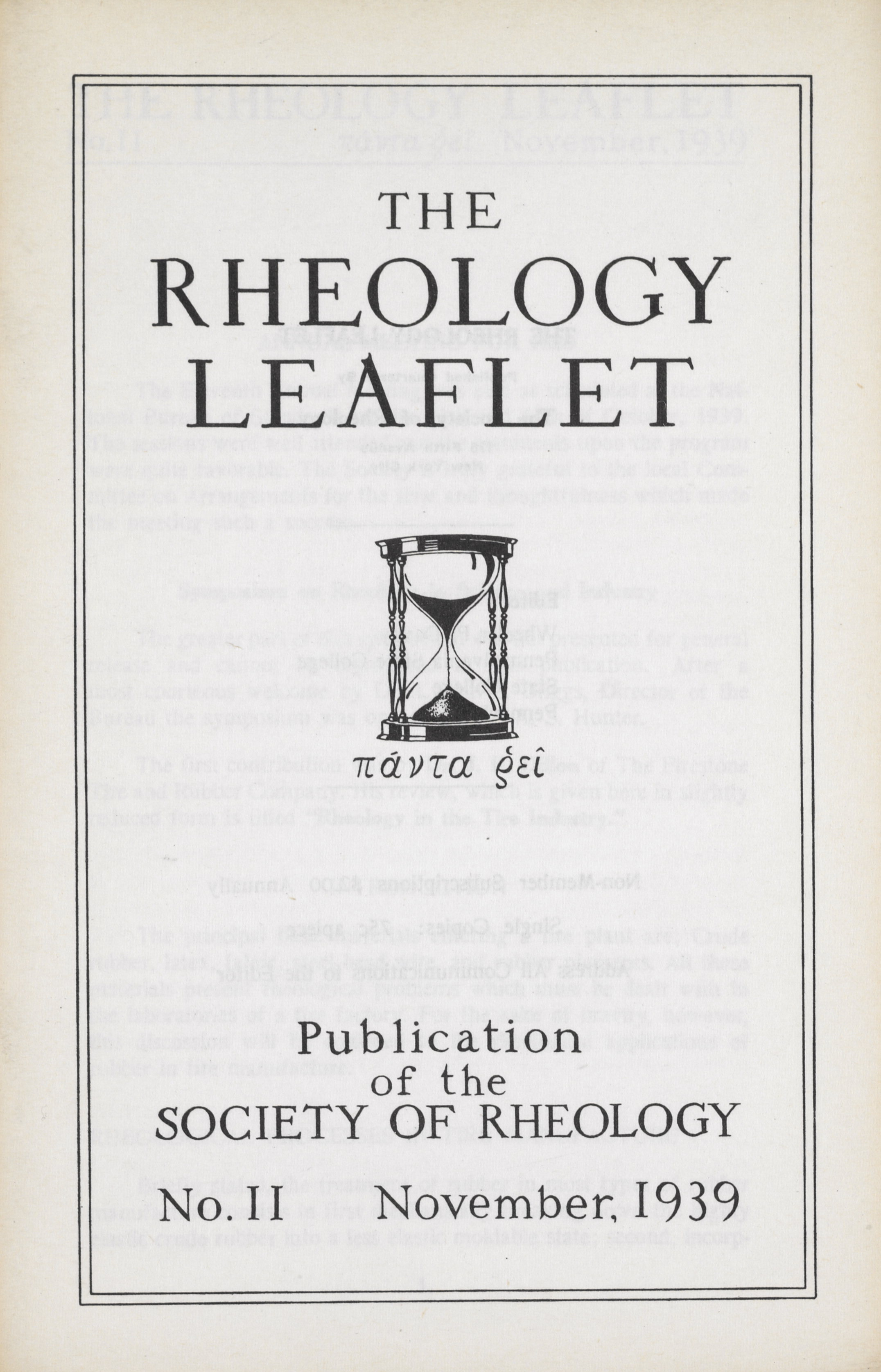 Box 4, Folder 11, Rheology Leaflet, No. 11, November 1939
