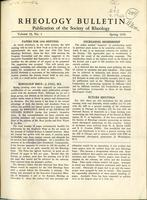 Box 5, Folder 10.5, Rheology Bulletin, Vol 19, No. 1, Spring 1950