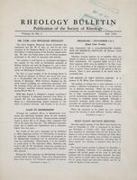 Box 5, Folder 11, Rheology Bulletin, Vol 19, No. 2, Fall 1950