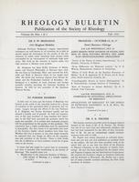 Box 5, Folder 12, Rheology Bulletin, Vol 20, Nos. 1 and 2, Fall 1951