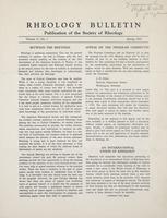 Box 5, Folder 13, Rheology Bulletin, Vol 21, No. 1, Spring 1952