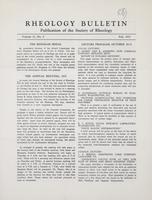 Box 5, Folder 14, Rheology Bulletin, Vol 21, No. 2, Fall 1952