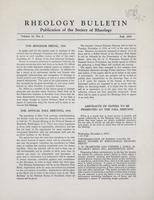 Box 5, Folder 18, Rheology Bulletin, Vol 23, No. 2, Fall 1954
