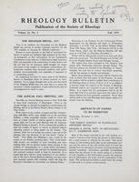 Box 5, Folder 21, Rheology Bulletin, Vol 24, No. 2, Fall 1955