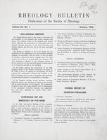 Box 5, Folder 22, Rheology Bulletin, Vol 25, No. 1, January 1956