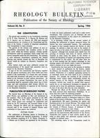 Box 5, Folder 22.5, Rheology Bulletin, Vol 25, No. 2, Spring 1956