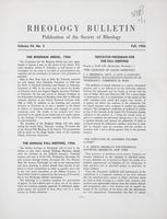 Box 5, Folder 23, Rheology Bulletin, Vol 25, No. 3, Fall 1956