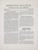 Box 5, Folder 24, Rheology Bulletin, Vol 26, No. 1, January 1957