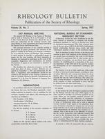 Box 5, Folder 25, Rheology Bulletin, Vol 26, No. 2, Spring 1957