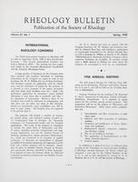 Box 5, Folder 27, Rheology Bulletin, Vol 27, No. 1, Spring 1958