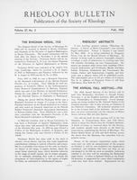Box 5, Folder 28, Rheology Bulletin, Vol 27, No. 2, Fall 1958