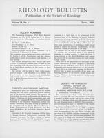 Box 5, Folder 29, Rheology Bulletin, Vol 28, No. 1, Spring 1959