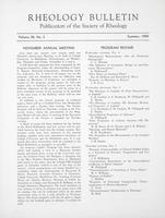Box 5, Folder 30, Rheology Bulletin, Vol 28, No. 2, Summer 1959