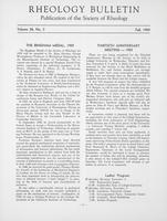 Box 5, Folder 31, Rheology Bulletin, Vol 28, No. 3, Fall 1959