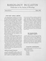 Box 5, Folder 32, Rheology Bulletin, Vol 29, No. 1, Spring 1960