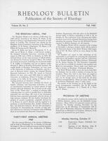 Box 5, Folder 33, Rheology Bulletin, Vol 29, No. 2, Fall 1960