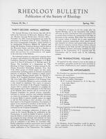 Box 5, Folder 34, Rheology Bulletin, Vol 30, No. 1, Spring 1961