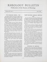 Box 5, Folder 35, Rheology Bulletin, Vol 30, No. 2, Fall 1961