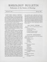 Box 5, Folder 36, Rheology Bulletin, Vol 31, No. 1, Spring 1962