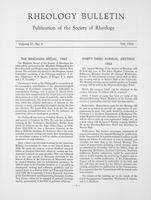 Box 5, Folder 37, Rheology Bulletin, Vol 31, No. 2, Fall 1962