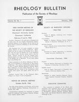 Box 5, Folder 39, Rheology Bulletin, Vol 33, No. 1, January 1964