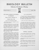 Box 5, Folder 40, Rheology Bulletin, Vol 33, No. 2, April 1964