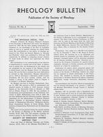 Box 5, Folder 42, Rheology Bulletin, Vol 33, No. 4, September 1964