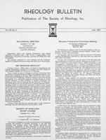 Box 6, Folder 37, Rheology Bulletin, Vol 50, No. 2, July 1981