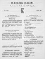 Box 6, Folder 44, Rheology Bulletin, Vol 54, No. 1, January 1985