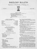 Box 6, Folder 46, Rheology Bulletin, Vol 55, No. 1, January 1986