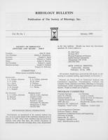 Box 6, Folder 52, Rheology Bulletin, Vol 58, No. 1, January 1989