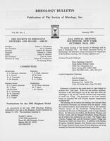 Box 6, Folder 56, Rheology Bulletin, Vol 60, No. 1, January 1991