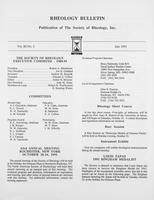 Box 6, Folder 57, Rheology Bulletin, Vol 60, No. 2, July 1991
