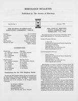 Box 7, Folder 01, Rheology Bulletin, Vol 61, No. 1, January 1992