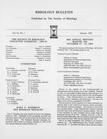 Box 7, Folder 03, Rheology Bulletin, Vol 62, No. 1, January 1993