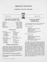 Box 7, Folder 05, Rheology Bulletin, Vol 63, No. 1, January 1994