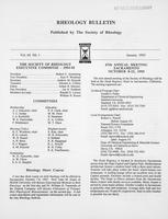 Box 7, Folder 07, Rheology Bulletin, Vol 64, No. 1, January 1995