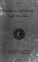 Box 33, Folder 9, Massachusetts Institute of Technology. Radiation Laboratory Staff Members, 1940-1945 (directory), 1946