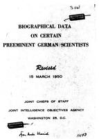 Box 28, Folder 50, German scientists: biographical data, 1950