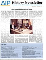 AIP History Newsletter, Vol. 45, No. 2, Winter 2013-2014