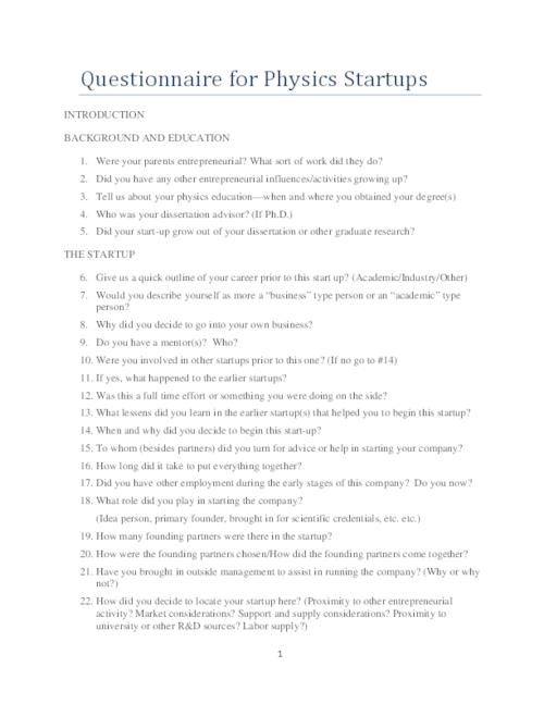 Sample Questions: Questionnaire For Physics Startups | Niels Bohr