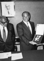 Abdus Salam and John Henry Schwarz during award presentation