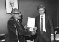 Abdus Salam presenting 1989 Dirac Medal to Michael Greene