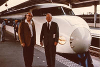 Alfred Nier and Kenneth Bainbridge with the 'Bullet Train' in Tokyo, Japan