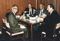 Alfred Nier, Kenneth Bainbridge, Henry Duckworth, and possibly Michael Higatsberger at sukiyaki dinner