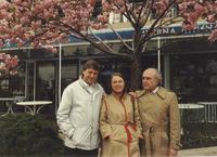 Julius Wess, Mary K. Gaillard, Bruno Zumino standing outdoors
