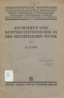 Atomismus und kontinuitätstheorie in der neuzeitlichen physik